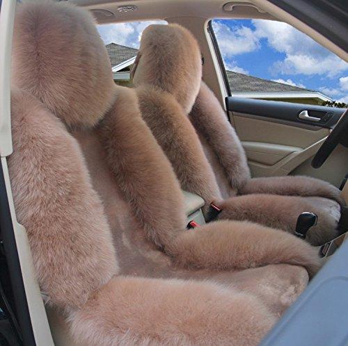 IMQOQ A Pair Genuine Sheepskin Fur Car 2 Front Seat Covers Set Winter Warm Universal Bean Paste