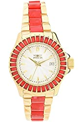 Invicta Women's Collins Collection Quartz Red Crystal Accented Gold Tone Stainless Steel Watch