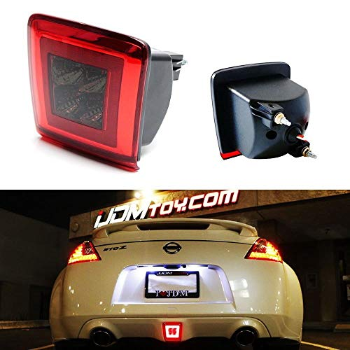 iJDMTOY Dark Red Lens LED Rear Fog Light Kit For 2009-up Nissan 370Z & 13-17 Juke Nismo, Powered by Red LED as Brake/Rear Fog & White LED as Backup Reverse Lamp ()