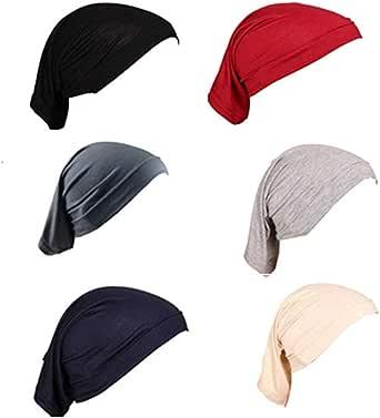 TanQiang 6 Pcs Women Under Scarf Hat Cap Bone Bonnet Hijab Islamic Neck Cover Muslim Under Scarf Hijab Cap