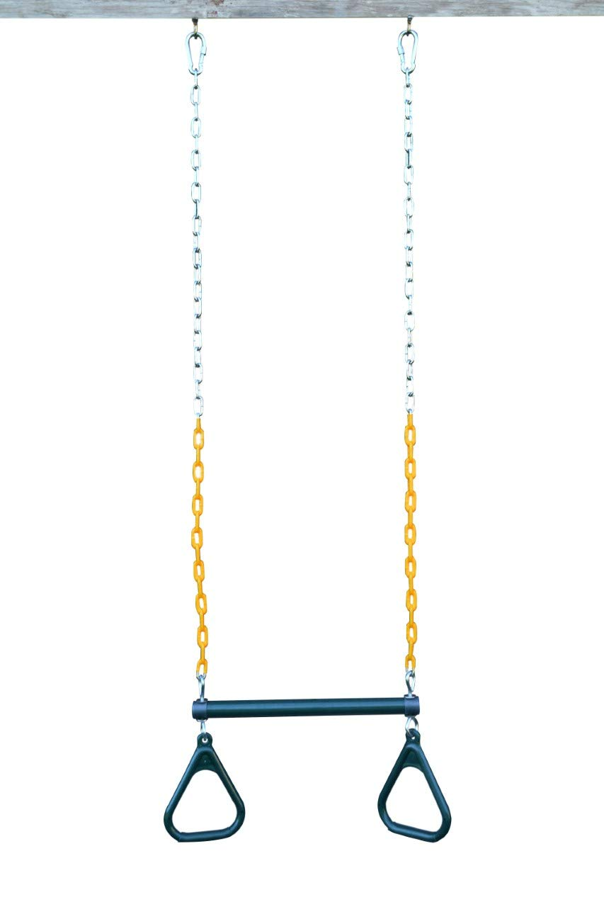 Mehf-Mart 17.7'' Trapeze Bar with Rings Gym , 48'' Heavy Duty Chain Plastic Coated , Swing Set Trapeze Bar with with Rings , Locking Carabiners