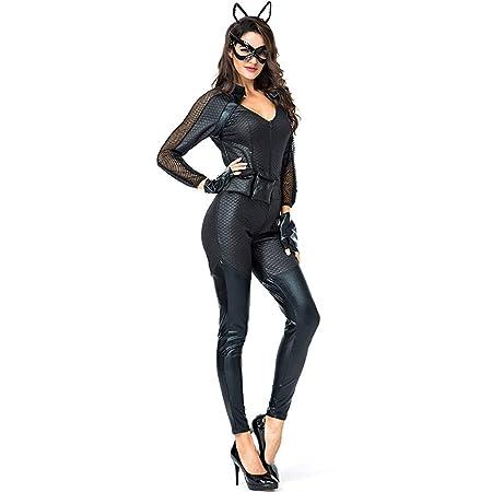 Mujer Catwoman Leotardo PU Cuero con Cinturón Máscara De ...