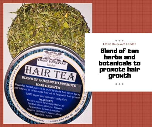 HERBAL TEA RINSE WITH A BLEND OF 10 HERBS TO PROMOTE HAIR GROWTH - ALOPECIA AREATA - Herbal hair Vitamins For Hair Growth -Vegan All Hair Type - Can be used to make APPLE CIDER VINEGAR RINSE