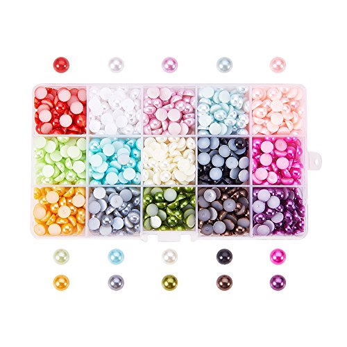 PH PandaHall 1 Box 15 Colors Flat Back Pearl Cabochon 8mm Half Round Gem Scrapbook Craft (About 1125pcs/box)