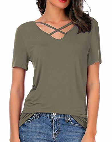 CPOKRTWSO Women's Casual Short Sleeve T-Shirt Blouse Criss Cross V-Neck Tees Tops ArmyGreen M