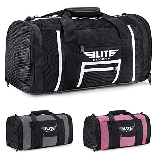 Elite Sports New Item Ventilated Mesh Duffel Gym Bag … (Black/White, Large) by Elite Sports