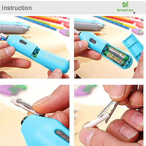 Electric Erasers Automatic Eraser Battery Powered Eraser Portable Electric Drawing Erasers for Artists Drafting (Blue) by DaoAG - Back to School (Image #3)