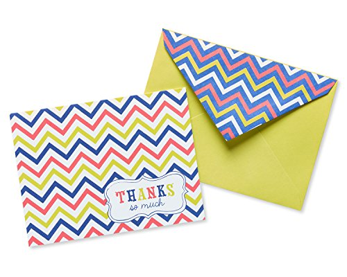 American Greetings Multicolored Chevron Thank You Cards and Lime Green Envelopes, 50-Count (Set Chevron Stationery)
