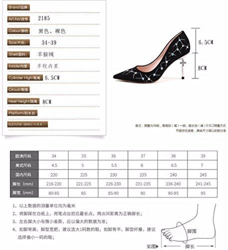 Encajes Salvaje de Moda taladrar Delgado de Transpirable 8 Tacón black de Elegante Sandalias Zapatos AJUNR de Zapatos cm Tacón Señaló Muelle Cuchara 6w48zq4g