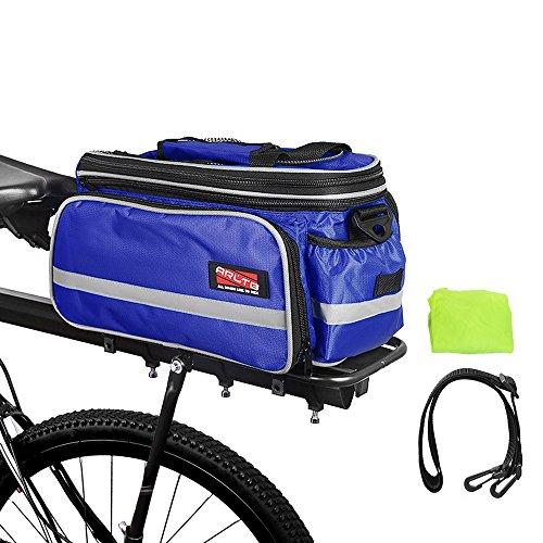 (Arltb Bike Rear Bag (3 Colors) 20-35L Waterproof Bicycle Trunk Bag with Rain Cover Shoulder Strap Bike Pannier Tail Back Seat Bag Package Handbag Bike Accessories for Road Bikes Mountain (Blue-))
