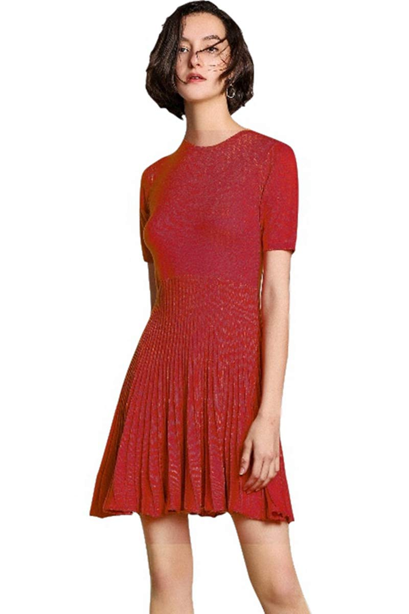 Pleated Dress Women's Short red Dress Knitted Cashmere Short Sleeve Crewneck high Waist Cocktail Dresses (L, Wine)