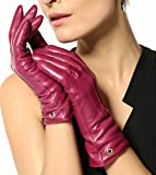 Elma Women's Touch Screen Italian Nappa Leather Winter Texting Gloves (6.5, Violet)