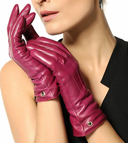 Elma Women's Touch Screen Italian Nappa Leather Winter Texting Gloves Pure Cashmere Warm Lining (7.5 (standard size), Violet) - Purple Leather Gloves