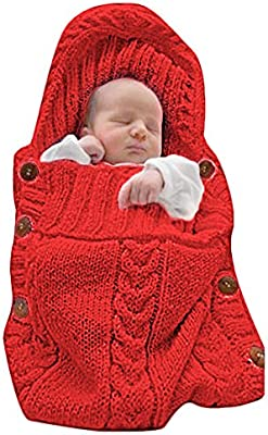 XMWEALTHY Newborn Baby Wrap Swaddle Blanket Knit Sleeping Bag Sleep Sack Wrap
