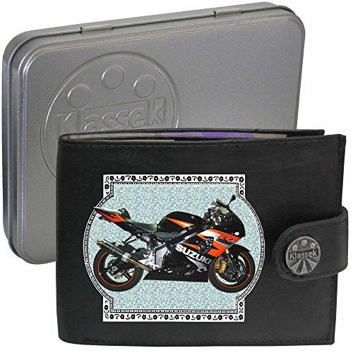 suzuki gsxr 600 k4 Rot Bild auf KLASSEK Marken RFID Herren Geldbörse Portemonnaie Echtes Leder Motorrad Bike Zubehör Geschenk mit Metall Box NICHT OFFIZIELLE SUZUKI Produkte 90O2Wsj0m