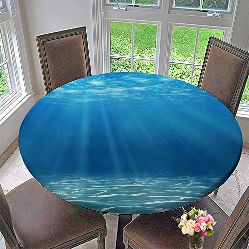 """Chateau Easy-Care Cloth Tablecloth Tranquil Underwater Scene with Copy Space for Home, Party, Wedding 47.5""""-50"""" Round (Elastic Edge)"""
