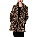 Women Warm Long Sleeve Parka Faux Fur Coat Overcoat Fluffy Top Jacket Leopard (US 4/6 = Asian M)