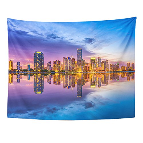 Emvency Tapestry Downtown Miami Florida USA Skyline on Biscayne Bay Cityscape Home Decor Wall Hanging for Living Room Bedroom Dorm 60x80 Inches ()