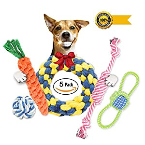 DECHIANY Small Dog Puppy Chew Teething Rope Toys Set 5 Pack Gift Set/Interactive Dental Chew Play Toys for Small to Medium Dogs by