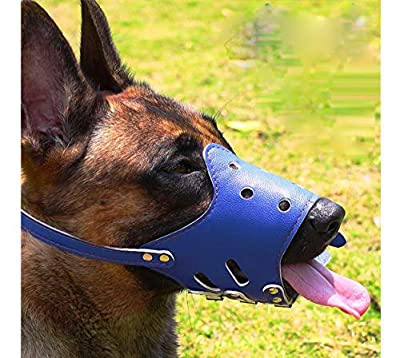 Dog Muzzle Leather, Comfort Secure Anti-barking Muzzles for Dog, Breathable and Adjustable, Allows Dringking and Eating, Used with Collars