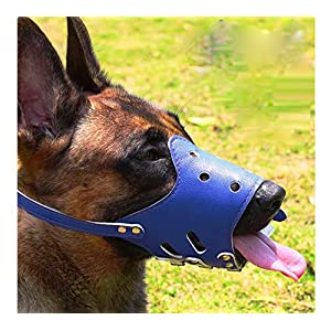 Barkless Dog Muzzle Leather, Comfort Secure Anti-Barking Muzzles for Dog, Breathable and Adjustable, Allows Dringking… Click on image for further info.