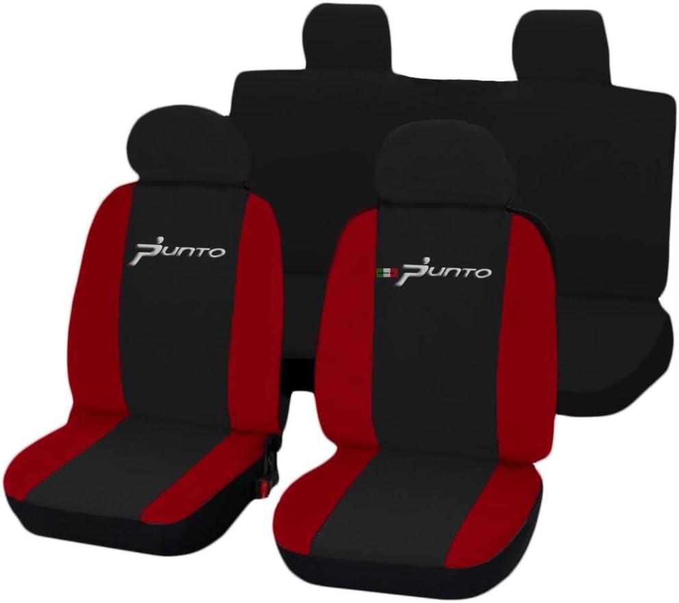 Lupex Shop FIAT Grande Punto 3 T/üren zweifarbige Sitzbez/üge schwarz rot