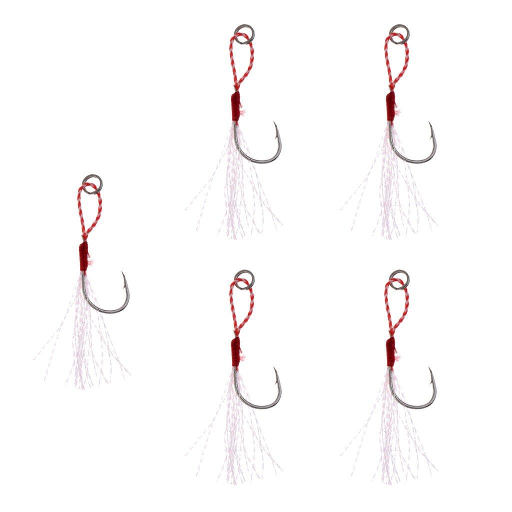 CUTICATE 5 Piezas De Pesca Jig Hooks Barbed Hooks Assist Hook Line Sea Fishing Tackle Tool