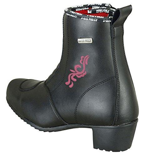 Tacón Flor Bota Zapatos Bikerwear Niñas Mujer Motocicleta Damas Girls Waterproog Moto Mujer Rosa XxIqv4IU