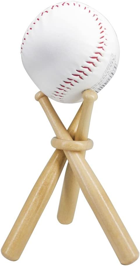 Wooden Baseball Display Stand Holder -Consists of 3 Mini Baseball Bat (1 Pack)