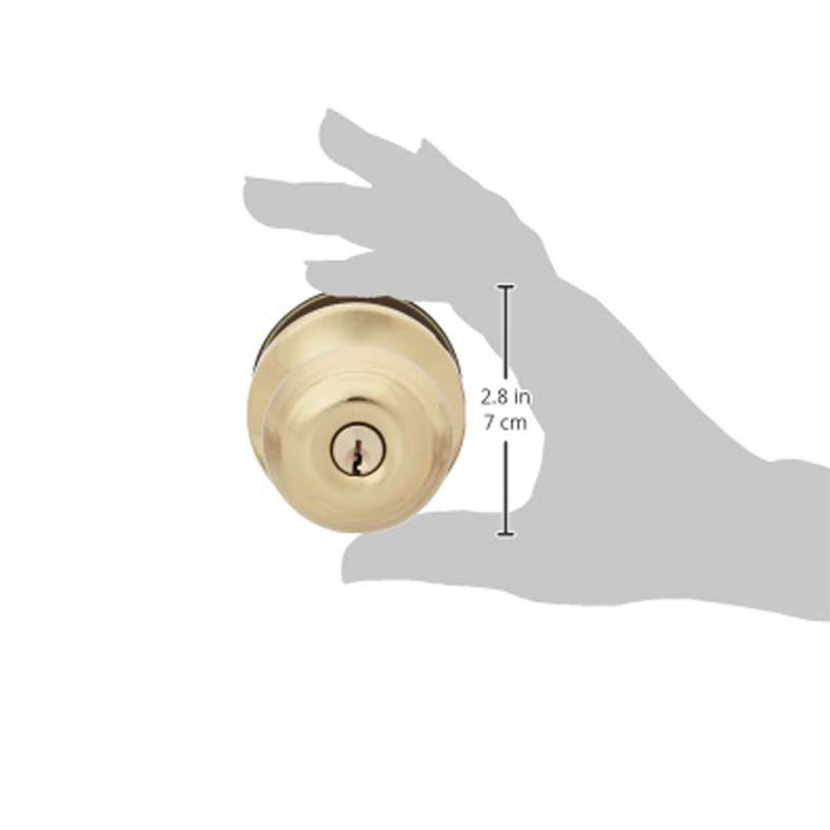 AmazonBasics Entry Knob and Deadbolt - Classic - Polished Brass – 2-Pack by AmazonBasics (Image #4)