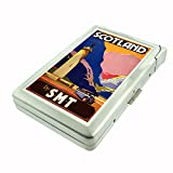 Perfection In Style Metal Cigarette Case with Built In Lighter Vintage Travel Posters Design 005