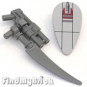 S010BW010e Lego Minifigure Weapon Pistol Gun Sword & Star Wars Shield LOOSE from 7261 (New Lego Sold Loose as Image Show)