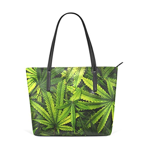 LORVIES Cannabis Texture Marijuana Leaf Pile PU Leather Shoulder bag Purse and handbags Tote Bag for women