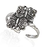 925 Sterling Silver Nature Inspired Marcasite Butterfly Open Ended Band Toe Ring