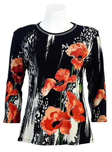 "Jess N Jane ""Rising Flowers"" Scoop Neck 3/4 Sleeve Shirt-s"