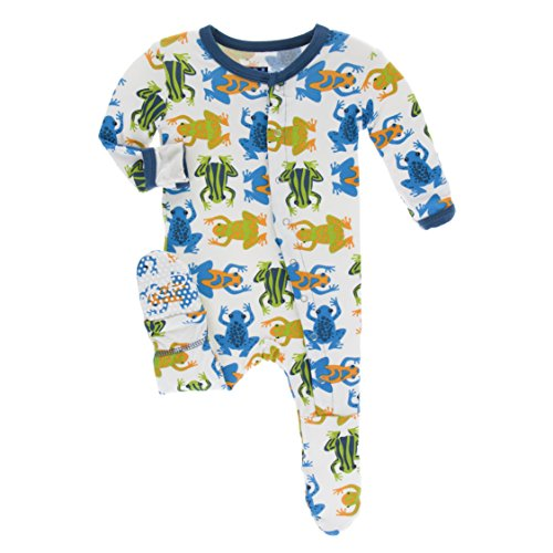 Frog Footed Sleeper Girls (Kickee Pants Little Boys Print Footie With Snaps - Amazon Frogs, 0-3 Months)