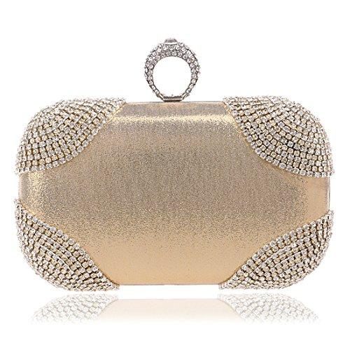 YYW Evening Bag - Cartera de mano para mujer dorado claro