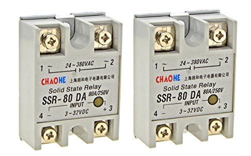 YXQ Solid State Relay SSR-80DA Single Phase Module Machinery Small AC Exchange Type Electronic Controller, Input 3-32VDC Output 24V-380VAC, 2-Piece (SSR-80DA) (3 Phase Solid State Relay 60 Amp)