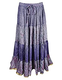 Mogul Womens Tiered Skirt Bellydance Recycled Vintage Sari Gypsy Maxi Skirts