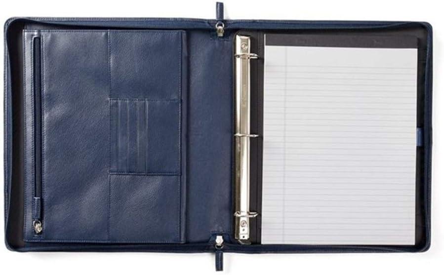 Yzibei Organizador de Carpetas de Documentos Carpeta Maletín con Soporte Multifuncional Cremallera Archivo De Cuero De La Cartera del Asunto para Tableta iPad (Color : Blue, Size : Free Size)