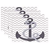 Nautical Anchor Print Placemats, ALIREA Heat-resistant Placemats Stain Resistant Anti-skid Washable Polyester Table Mats Non Slip Washable Placemats, 12''x18'', Set of 6