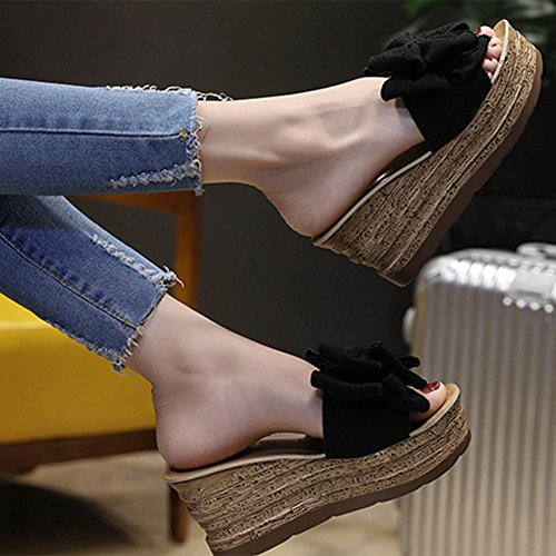 With Slope 37 And With Crust Flops Heeled Thick Sandals Summer Flip Bow Black Slippers Beige Knot Sexy High aIdnBqPnA