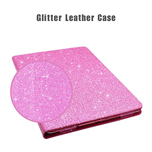 2018 NEW iPad/iPad Air/Air2/Pro 9.7 Glitter Case,FANSONG Bling Sparkle PU Leather Smart Cover [Flip Stand Function] [Auto Sleep/Wake] Universal Case for Apple iPad Air/Air2/Pro 9.7 (Bling Pink) by FANSONG (Image #1)
