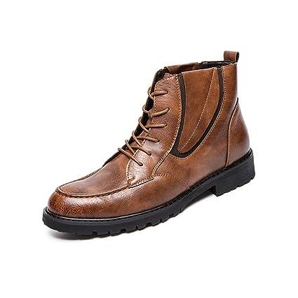 ec016440434 Amazon.com: Hilotu Men's Lace Up Work Ankle Boots Casual British ...