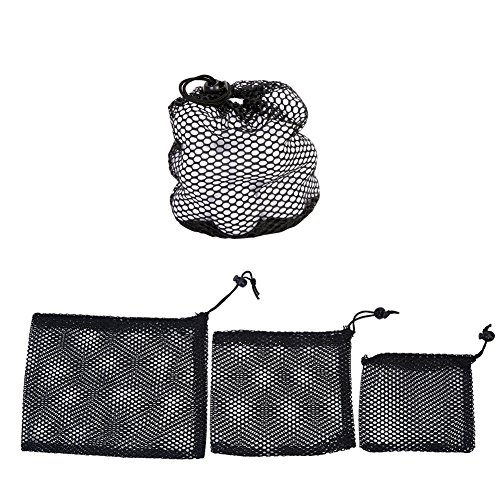 Mesh Golf Pouch (Golf Ball Mesh Bag 3 PCS Nylon Mesh Drawstring Pouch Golf Balls Holder Storage Bag Accessory(S/M/L))