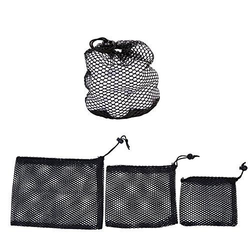 取り替える聖歌アクセスできないゴルフボールメッシュバッグ3個ナイロンメッシュ巾着ポーチゴルフボールホルダーストレージバッグアクセサリー( S / M / L )