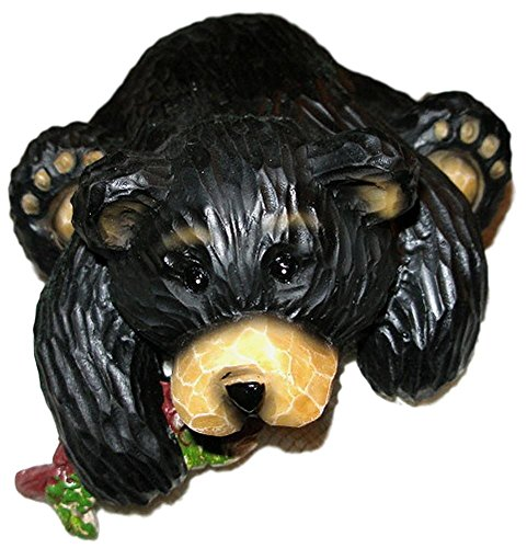 Young's Funny Black Northwood Bear & Fish Resin Shelf Sitter Figurine #2