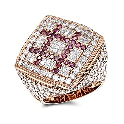 14K Gold Pink White Criss Cross Diamonds 7.1ctw F-G/VS