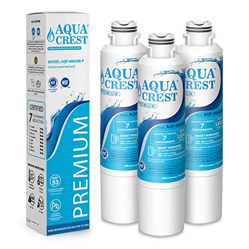 AQUACREST DA29-00020B Refrigerator Water Filter, NSF 53&42 Certified to Reduce 99% of Lead, Cyst & More, Compatible with Samsung DA29-00020B, DA29-00020A, DA97-08006A, HAF-CIN/EXP, 46-9101 (Pack of 3)