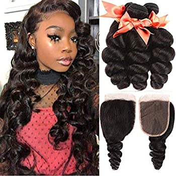 Image of Brazilian Human Hair Bundles Loose Wave 3 Bundles With Closure 100% Unprocessed Human Hair Loose Curly Weave Bundles with 4X4 Lace Closure Natural Color(24 26 28+20) Health and Household